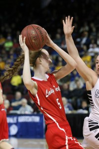 Libby Cook (shown here in a class C quarterfinal game from last season) had a big game in leading the Central Red Devils to a win over Mattanawcook. Photo courtesy of Lisa Prescott